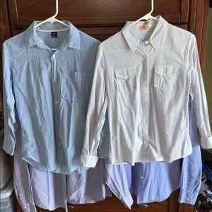 4 Blue Button Down Shirts